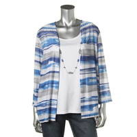 Alfred Dunner Womens 3/4 Sleeves Striped Cardigan Top