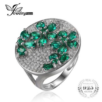 JewelryPalace Huge Luxury 3.3ct Created Emerald Cocktail Ring Genuine 925 Sterling Silver Fine Jewelry For Women