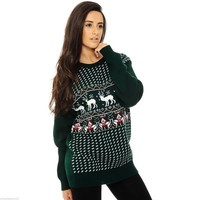 Gemma Small Reindeer Sweater in Green from 21 Westmoreland