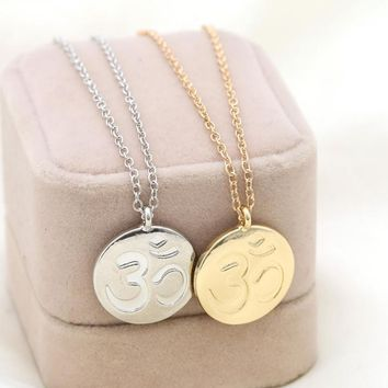Yoga OM Charm Pendant Necklace