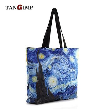 TANGIMP bayan canta Van Gogh Handbags Starry Night Sky Printed Tote Bags for Women Single Shopping Shoulder Beach Bags 2017 New