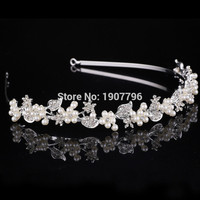 Romantic fashion rhinestone crystal pearl headdress, silver wedding tiara with the bride contracted hair Hairwear flower gir