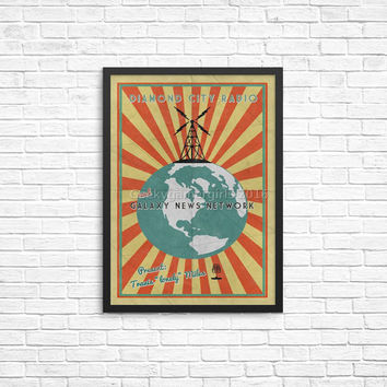 Fallout Poster | Diamond City Radio poster | Vintage look print | Videogame art | Galaxy News Network poster | geek gift