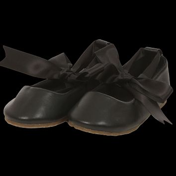 Black Ballet Flats Girls Dress Shoes with Grosgrain Ribbon