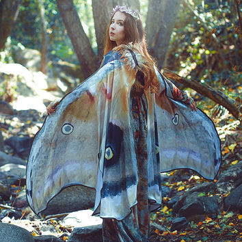Mooth Butterfly Fairy cape cloak brown and white isis wings costume adult bridal fairy handfasting