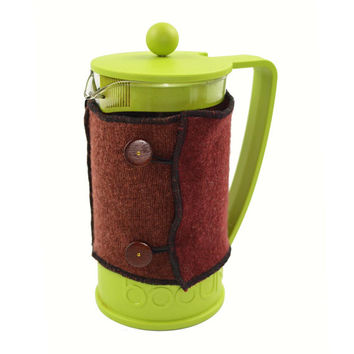 Bodum Cover in Upcycled Wool - French Press Coffee Cozy - Rust Orange Brown