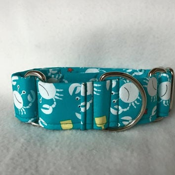 "Sea Buddies Little Diggers Turquoise Martingale or Quick Release Collar 1"" Martingale 1.5"" Martingale or 2"" Martingale Crabs"