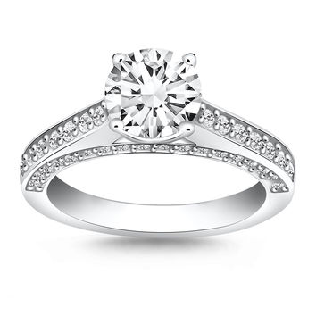 14K White Gold Pave Diamond Cathedral Engagement Ring - Style 1