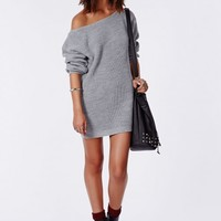 AYVAN OFF SHOULDER KNITTED SWEATER DRESS GREY
