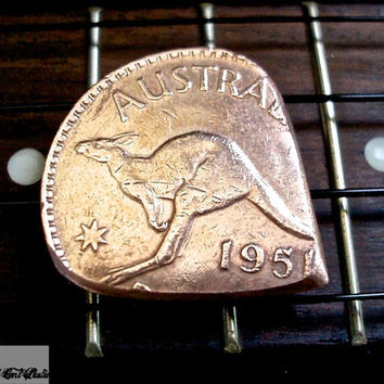 Coin Guitar Pick -- 1951 Australian Penny -- TheStretchedCentStudio