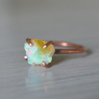 Ethiopian Opal Rough Nugget Ring on Copper Size 7