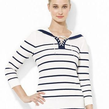 Lauren Ralph Lauren Striped Cotton Lace-Up Hoodie