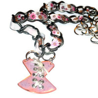 Ribbon and Chain Necklace With Pink Enamel Corset Charm 18inches