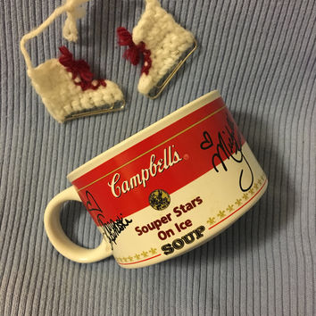 Campbell's Souper Stars On Ice Soup Mug Vintage Soup Bowl With 1998 Famous Skaters Signatures Nicole Bobek Michelle Kwan Tara Lipinski