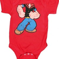 Popeye the Sailorman Popeye's Body Red Infant Baby Onesuit Romper