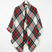 ASOS Oversized Square Scarf In White Based Check