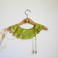 Collar Necklace, Crochet Peter Pan Collar Necklace,Green, tender shoots, ready to shipping, crochet earring.