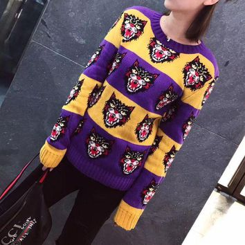 DCCK6HW Gucci' Women Casual Fashion Multicolor Stripe Cat Head Pattern Long Sleeve Knitwear Sweater Tops