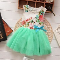 lace Baby Girls dress summer bebe Dress bows Ball Gown clothing lace tutu party dresses 1 year birthday dress