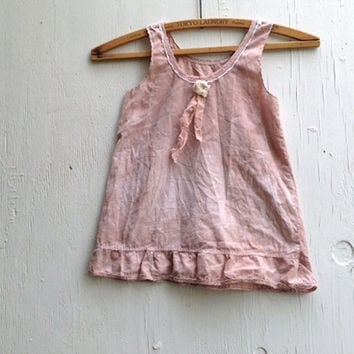 shabby toddler dress,  Vintage heirloom hand dyed, rose pink dress, birthday, crochet lace, rustic  BIRTHDAY country flower vintage dress
