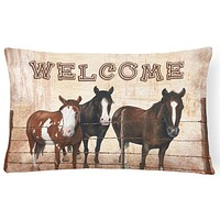 Welcome Mat with Horses   Canvas Fabric Decorative Pillow SB3059PW1216