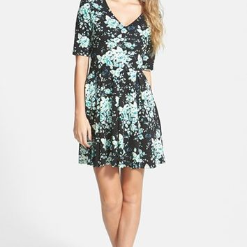 Junior Women's Mimi Chica Floral Print Skater Dress,