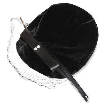 Black Velvet Close Hat, Lacquered Quill Feather
