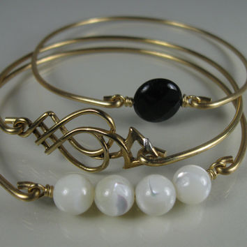 Gold Filigree, Onyx and Mother of Pearl Bangle Bracelet Set-Jewelry-Gold Bangle Bracelet-Bangle Bracelet-Jewelry-Bangle-Bracelet-Bauble Vine