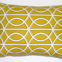 Decorator Pillow.Citrine Gold.12x16 or 12x18 inch Decorator Lumbar Pillow Cover.Printed Fabric Front and Back
