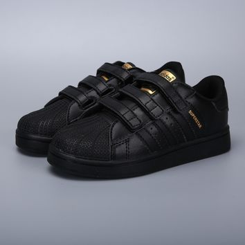 Adidas Original Superstar Black Gold Velcro Toddler Kid Shoes - Best Deal Online