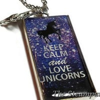 Keep Calm and Love Unicorns Custom Pendant Necklace, Girly Jewelry