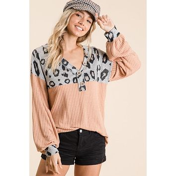 Apricot Top with Grey Leopard Print Detail (S-XL)