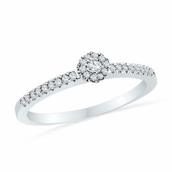 10kt White Gold Women's Round Diamond Solitaire Halo Promise Bridal Ring 1-6 Cttw - FREE Shipping (US/CAN)