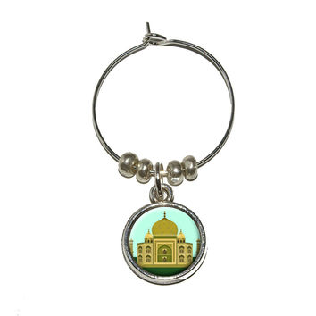 India Taj Mahal - Travel Wine Glass Charm