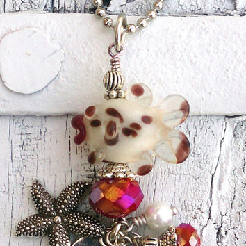 Lampwork Bead Fish Starfish Quote Pendant Assemblage Necklace Sea Life Ocean Beach Jewelry