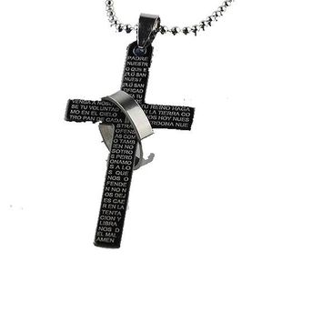 Stainless Steel Prayer Cross Pendant Necklace