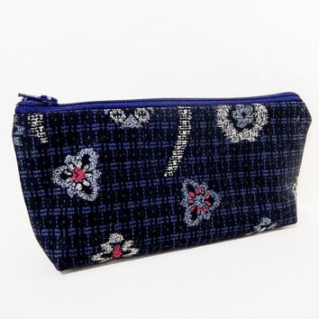 Floral Pouch, Medium Zipper Pouch, Fabric Pouch, Small Cosmetic Bag, Small Make Up Bag, Japanese Import Fabric Pouch, Navy Floral Print