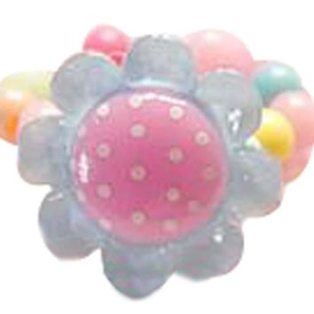 Set Of 3 Flower Ring Candy Beads Children's Jewelry Ring Random Color