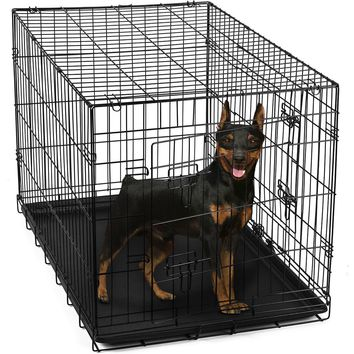 "24"" Pet Kennel Cat Dog Folding Steel Crate Animal Playpen Wire Metal Cage"