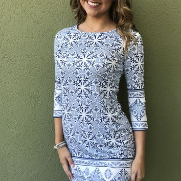 Out And About Dress - White/Blue