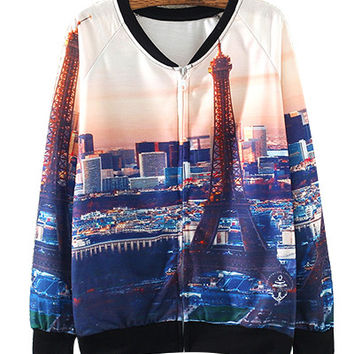 Black Paris Scenery Print Zipper-Up Sweater