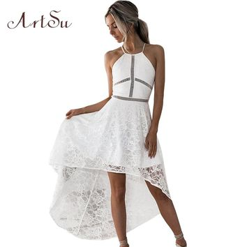 ArtSu Women Asymmetrical Midi Lace Dress Strapless Dovetail Slim 2018 Summer Sexy Hollow Out Party Dresses Vestidos ASDR30628