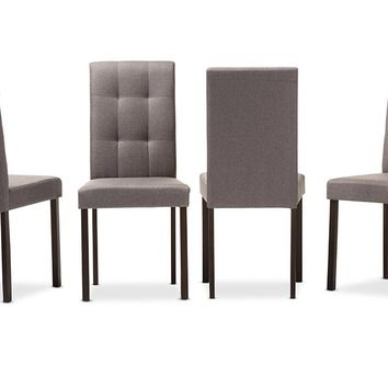 Baxton Studio Andrew Modern and Contemporary Grey Fabric Upholstered Grid-tufting Dining Chair Set of 4
