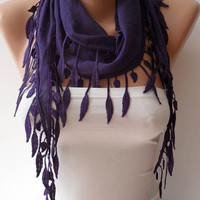Trend - Purple Scarf with Purple Trim Edge