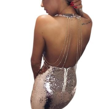 Rose Gold, Silver Sleeveless Open Back Sequin Dress