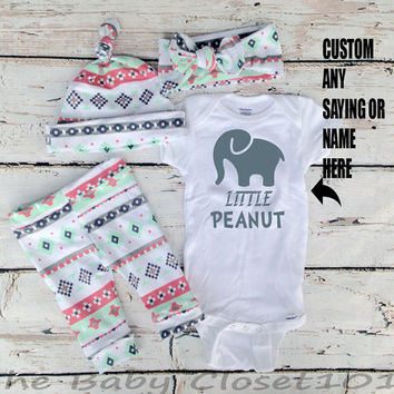 baby girls coming home outfit,Little Peanut, pink, navy, grey,mint and white,leggings,Hat,Headband,Hospital Outfit,outfit set,Infant,