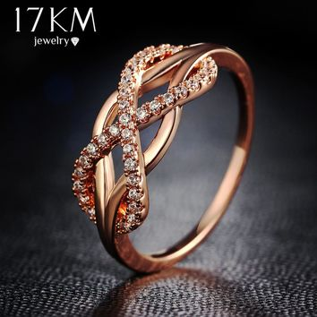 17KM Fashion Design Hollow Crystal Infinite Rings For Women 2017 New Vintage Statement Rose Gold Color Ring Wedding Jewelry