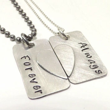 Couples Broken Heart Matching Small Dog Tag Necklace Set- Sterling Silver, Couples Jewelry, Deployment Jewelry, Military