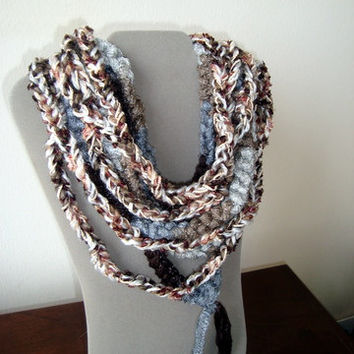 "Fiber Art ""Amanda"" Scarflette in Brown, Burgundy, Grey, Gold and White - Statement Infinity Scarf - Handmade Soft Necklace - One of a Kind"