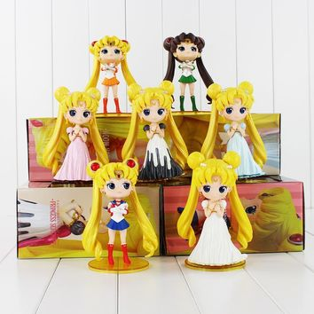 "Cool 6""15cm Q Posket Sailor Moon Figure Queen Princess Serenity Tsukino Usagi Jupiter Venus Pluto Action Figures Dolls High QualityAT_93_12"